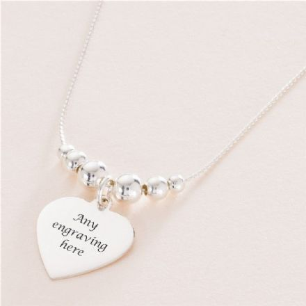 Memorial Necklace with Silver Beads & Engraved Heart